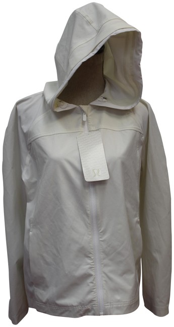Item - White L On The Fly Hoodie Zip Front Coat M Activewear Outerwear Size 10 (M)