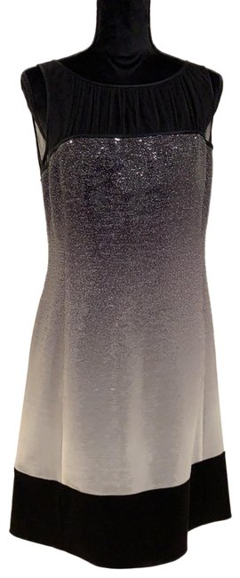 Item - Gray Sequin Ombré Tulle and Satin Short Cocktail Dress Size 10 (M)
