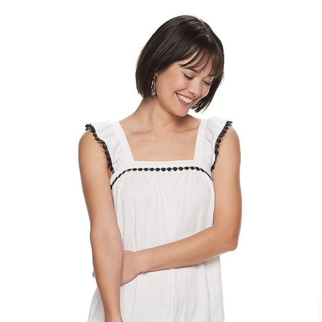 Item - White Tank with The Black Around Its Looking Like Buttons Perfectly Set 65628517 Blouse Size 24 (Plus 2x)