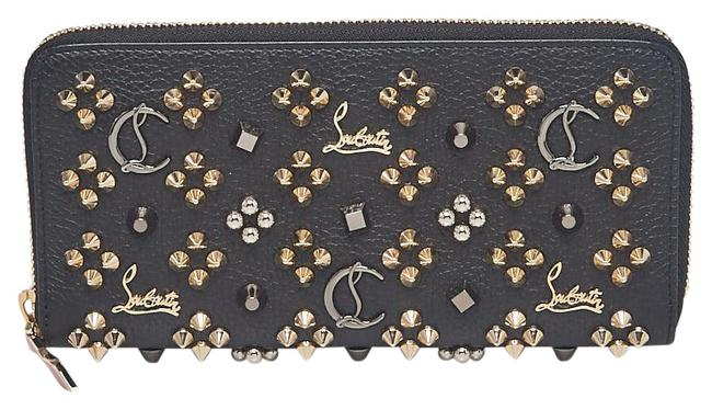 Item - Black Leather Studded Panettone Zip Around Wallet