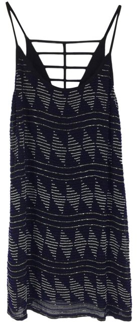 Item - Black Blue Silver Beaded Short Night Out Dress Size 6 (S)