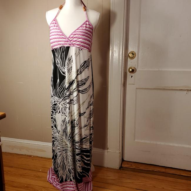 Item - Pink White Black with Light Green 65628517 Long Casual Maxi Dress Size Petite 14 (L)