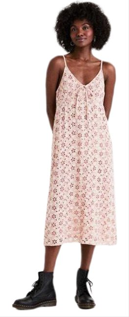 Item - Pink XL New Ae Embroidered Midi Slip Sz-xl Mid-length Casual Maxi Dress Size 16 (XL, Plus 0x)