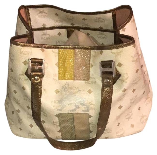 Item - Creme and Gray Leather Tote