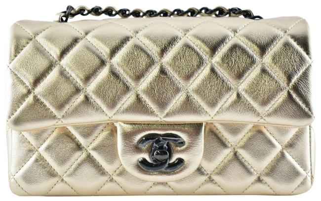 Item - Classic Crossbody 21s Black Rose Chain Mini Flap Rectangle Cc Logo Quilted Gold Lambskin Leather Shoulder Bag
