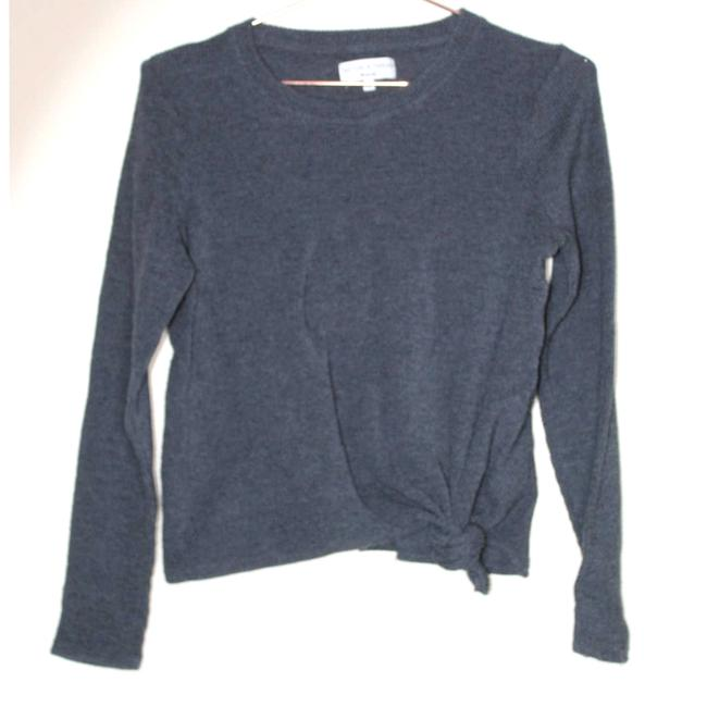 Item - Texture Thread Ribbed Tie Front Gray Sweater