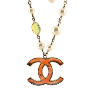 Chanel CC Pendant Necklace Metal with Printed Resin, Faux Pearls and Glass