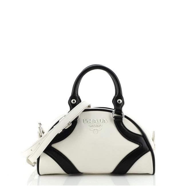 Item - Bowling Convertible Handle Small Black White Leather Tote