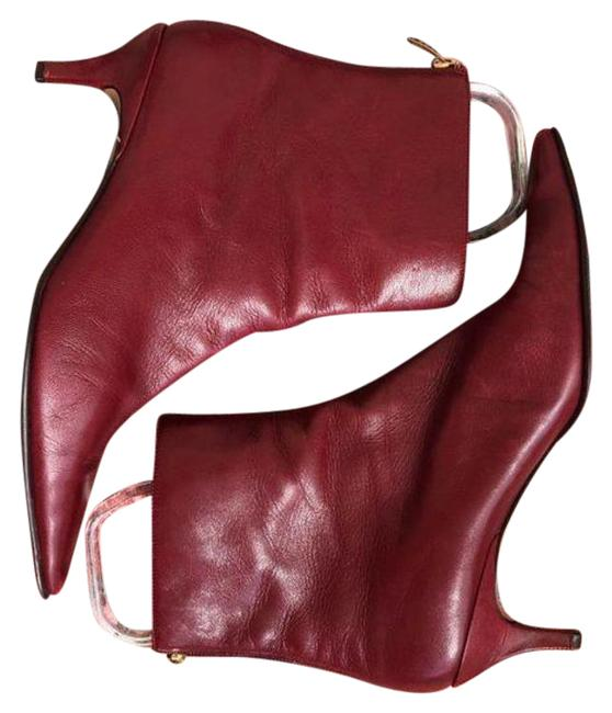 Item - Red Gold Kitten Heel Pointy Toe Vintage Boots/Booties Size US 8.5 Regular (M, B)