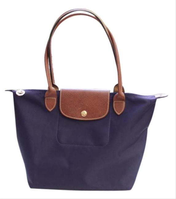 Item - La Pliage Purple Tan Nylon & Leather Tote