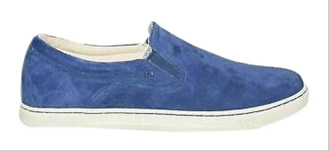 Item - Blue Marino Suede Leather Slip On Sneakers Women Flats Size US 5.5 Regular (M, B)