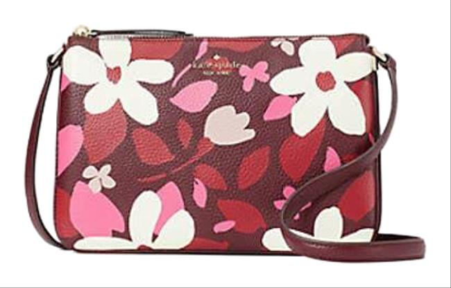 Item - Jackson Forest Floral Triple Gusset Pink Leather Cross Body Bag