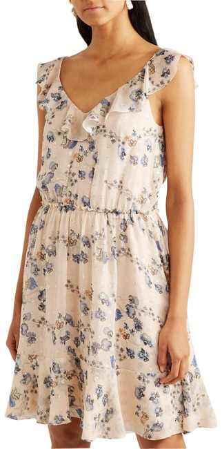 Item - Beige Ruffled Metallic Floral-print Silk-jacquard Mid-length Cocktail Dress Size 6 (S)