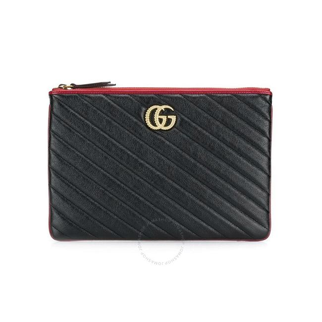 Item - Marmont Quilted Pouch Black Leather Clutch