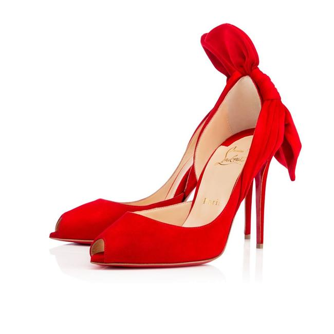 Item - Red Barbara 100 Oeillet Suede Peep Toe Bow Open Stiletto Heel Pumps Size EU 39.5 (Approx. US 9.5) Regular (M, B)