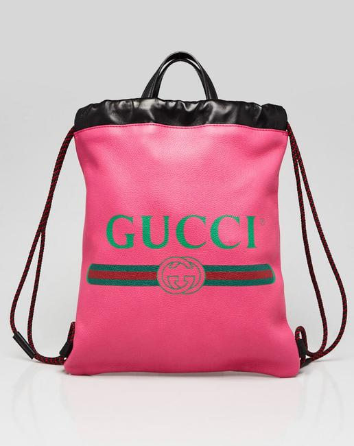 Item - Drawstring Printed Pink Leather Backpack