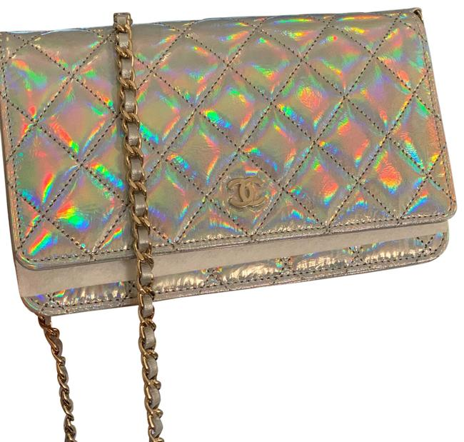 Item - Wallet on Chain Box In Summer 21 Iridescent Leather Cross Body Bag
