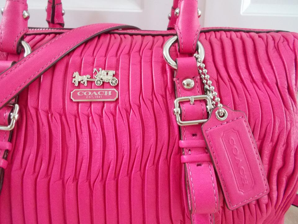 Coach Madison Gathered Juliette Wallet Hot Pink Leather Satchel Tradesy