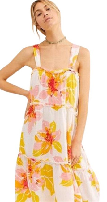 Item - Yellow Moonshine Midi Floral Sz-s Mid-length Casual Maxi Dress Size 4 (S)