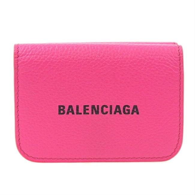 Item - Pink Leather Cash Mini Tri-fold Compact 593813 Wallet