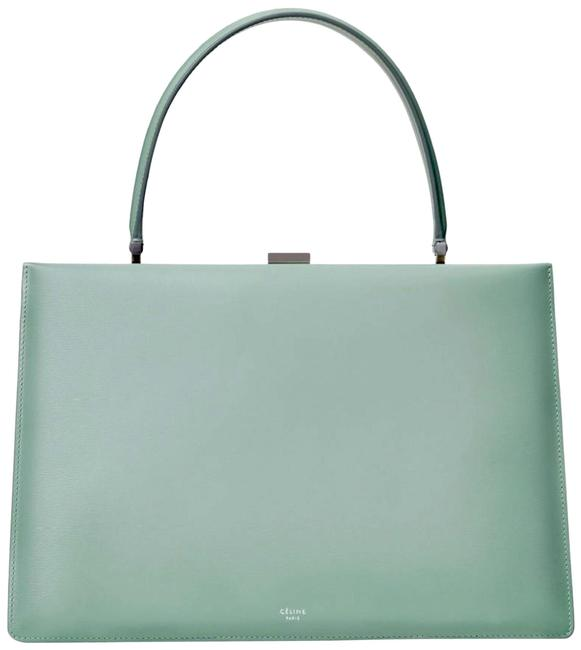 Item - Clasp Medium Green Mint Satinated Smooth Calfskin Leather Tote