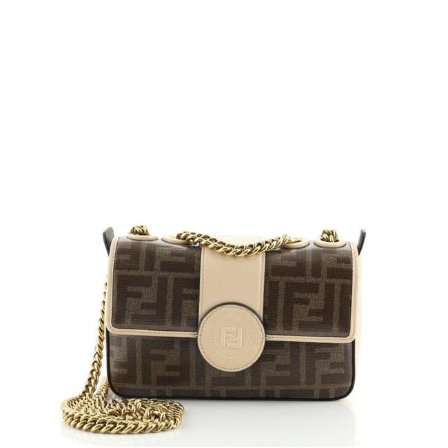 Item - Flap Ff Logo Stamp Zucca Mini Brown Neutral Coated Canvas Cross Body Bag