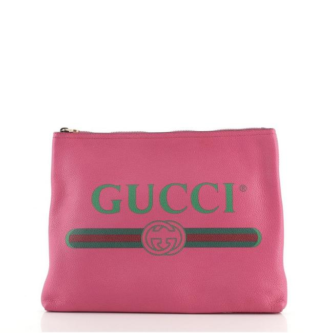 Item - Portfolio Logo Pouch Printed Medium Pink Leather Clutch