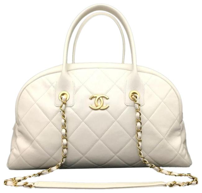 Item - Large In White Lambskin Leather Satchel