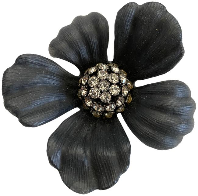 Item - Black Crystal Flower Pin/Broach Handcrafted Lucite