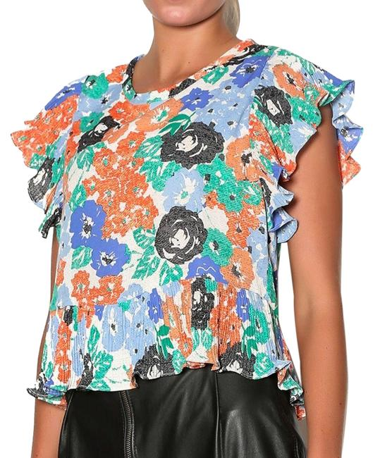 Item - Blue Flutter Sleeve Floral Coral and Women's Medium Blouse Size 8 (M)