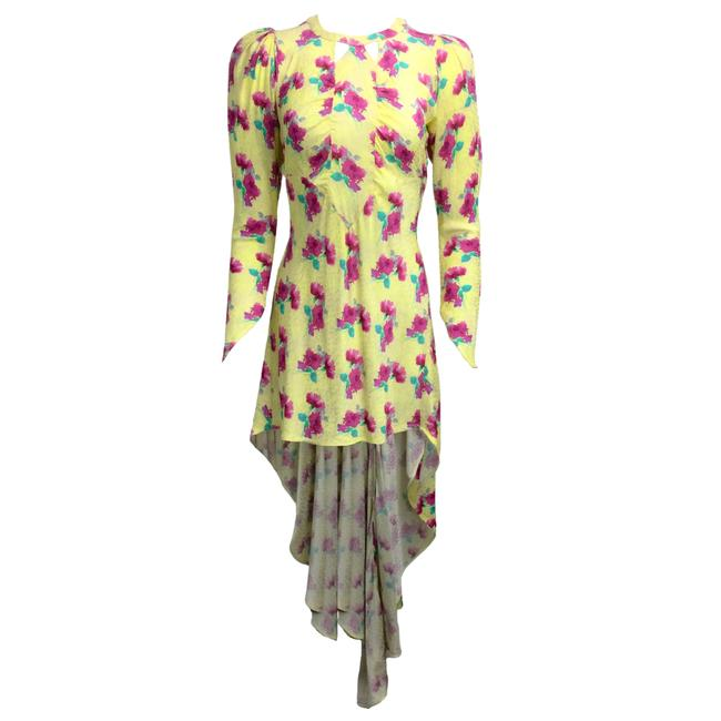 Item - Yellow Floral Jacquard Tail Cocktail Dress Size 6 (S)