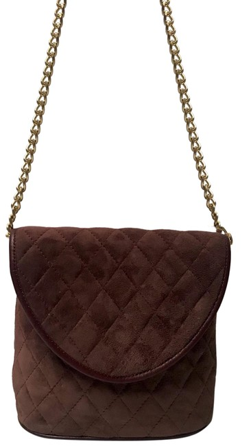 Item - Quilted and Chan Strap Brown Suede Leather Shoulder Bag