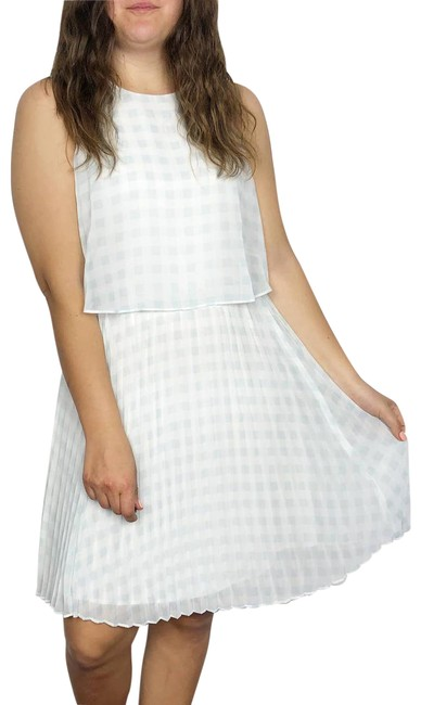 Item - Blue   Gingham Pleated Fit & Women's 8p Mid-length Short Casual Dress Size Petite 8 (M)