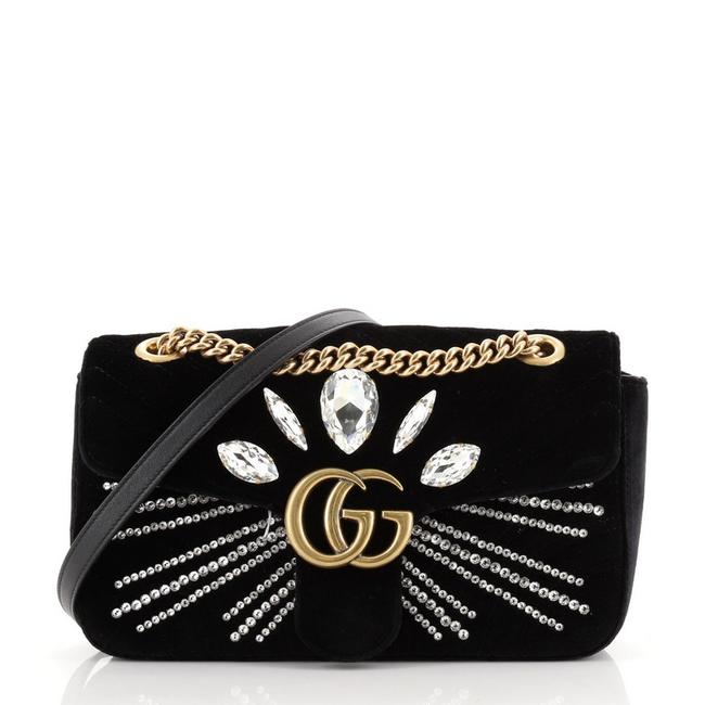 Gucci Flap Marmont Gg Embellished Matelasse Small Black Velvet Cross Body Bag Gucci Flap Marmont Gg Embellished Matelasse Small Black Velvet Cross Body Bag Image 1