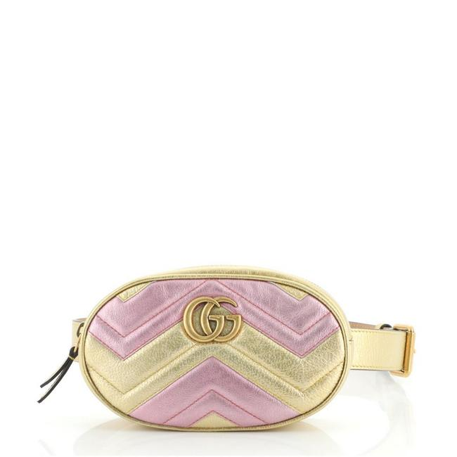 Item - GG Marmont Belt Bag Matelasse Gold Multicolor Pink Leather Satchel