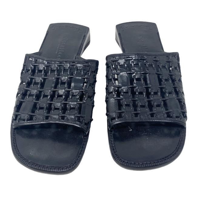 Item - Black Country Square Toe Woven Leather Sandals Size US 7 Regular (M, B)