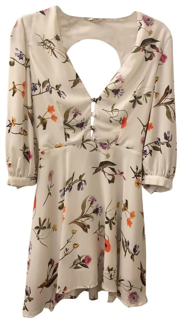 Item - White with Floral Print Short Casual Dress Size 4 (S)