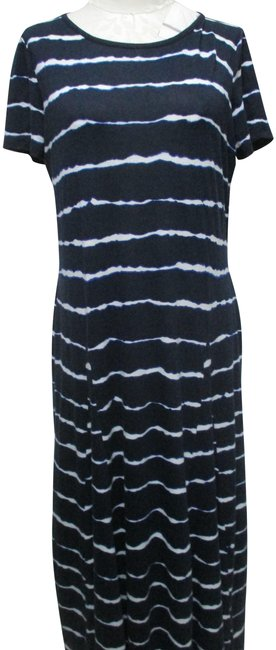 Item - Navy Blue & White L Knit Tie Dye Large Lg Long Casual Maxi Dress Size 14 (L)