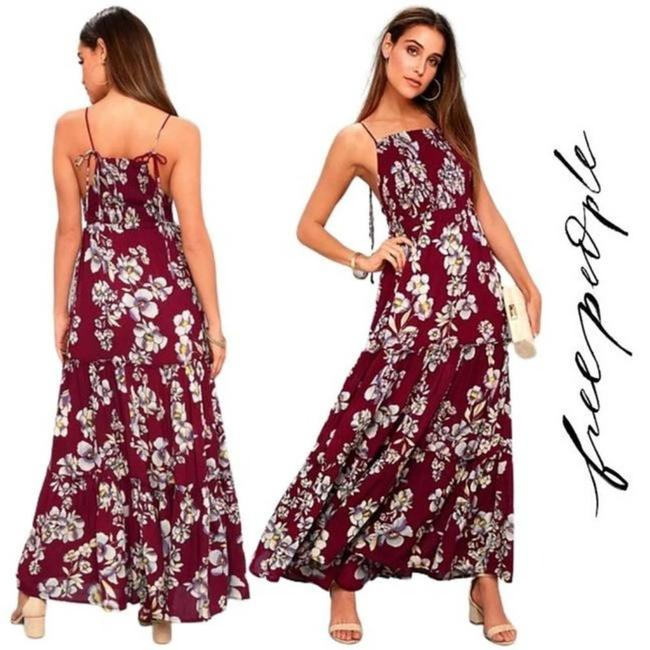 Item - Burgundy Floral Ruffle Tiered Long Casual Maxi Dress Size 4 (S)
