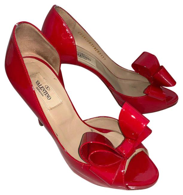 Item - Red Couture Bow High Pumps Size US 7 Regular (M, B)