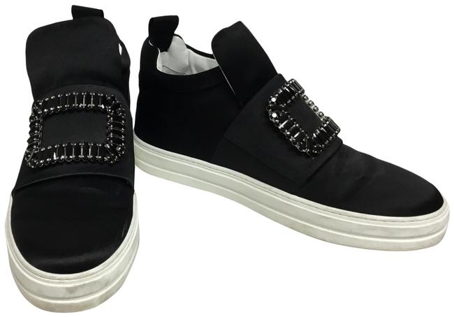 Item - Black Silk High Top Sneakers with Crystal Buckle Flats Size EU 39 (Approx. US 9) Regular (M, B)