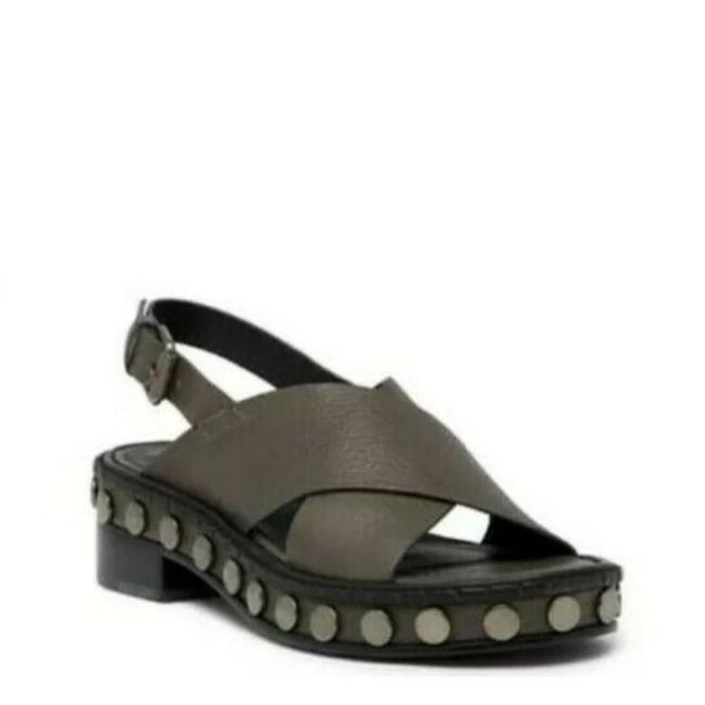 Item - Gray Ruse Leather Criss Cross Studded Sandals Size US 6 Regular (M, B)