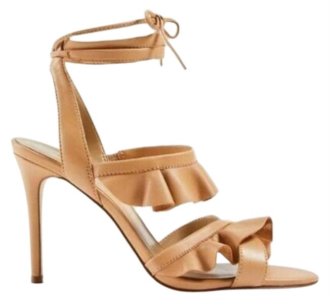 Item - Tan Kristin Leather Ruffled Ankle Wrap Sandals Size US 8 Regular (M, B)