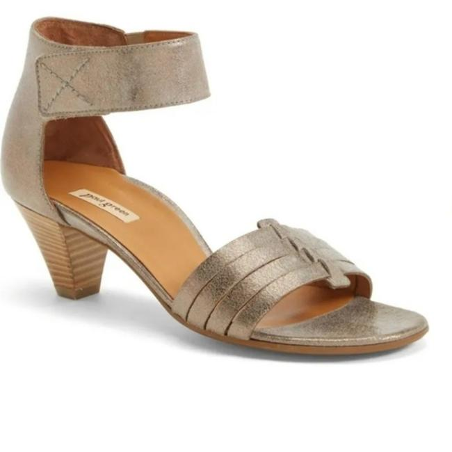 Item - Gray Coco Leather Ankle Strap Sandals Size US 7.5 Regular (M, B)