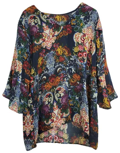Item - Green Boho Bell Sleeve Floral Blouse Size 14 (L)