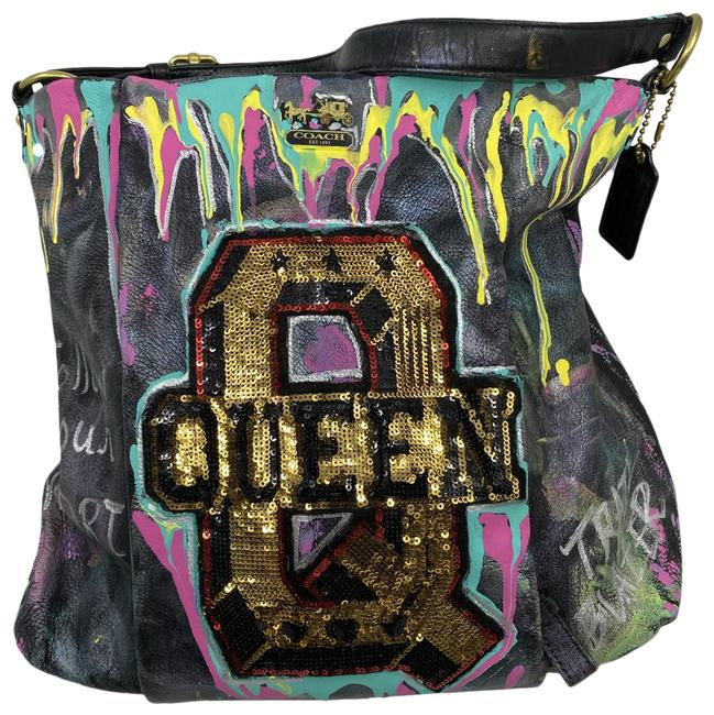 Item - W Hand Customized By Me Street Art Black Gold Multi Color Tote