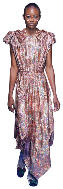 Item - Rose Silk Georgette Sequin Long Night Out Dress Size 8 (M)