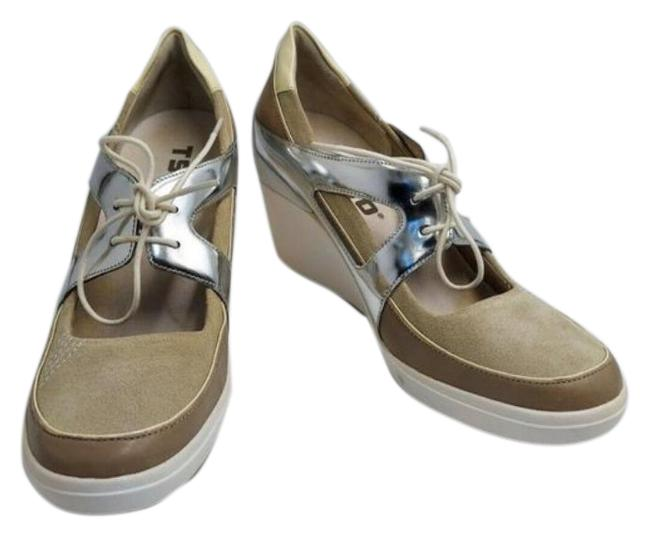 Item - Cream Silver Infinity Daylin Tan Leather Wedge Lace Up Sneakers Size US 9.5 Regular (M, B)