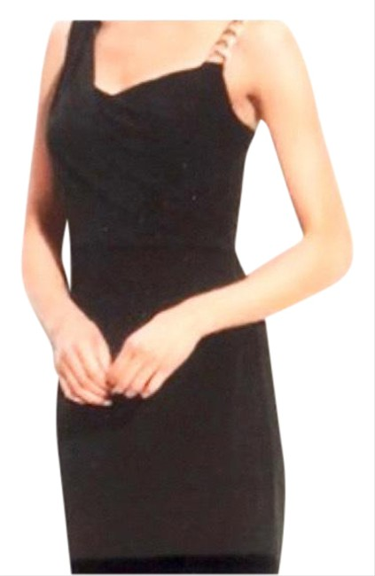Item - Black Chain Shoulder Bodycon Mid-length Night Out Dress Size 10 (M)