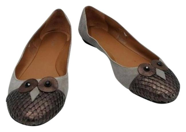 Item - Gray Suede Leather Owl Ballet Flats Size US 6.5 Regular (M, B)